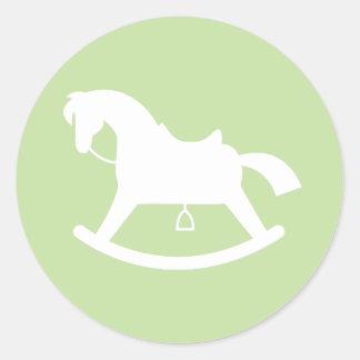 Rocking Horse Silhouette Baby Shower Sticker Green