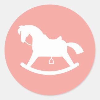 Rocking Horse Silhouette Baby Shower Sticker Pink