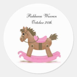 Rocking Horse Sticker in Pink