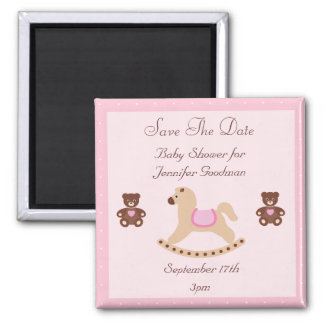 Rocking Horse & Teddies Save The Date Baby Shower 2 Inch Square Magnet