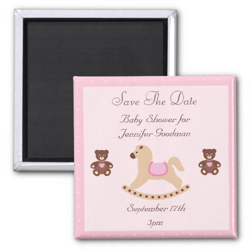Rocking Horse & Teddies Save The Date Baby Shower Magnet