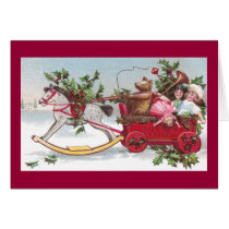 Rocking Horse, Teddy and Wagon Vintage Christmas Card