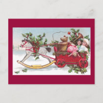 Rocking Horse, Teddy and Wagon Vintage Christmas Holiday Postcard