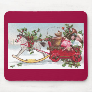 Rocking Horse, Teddy and Wagon Vintage Christmas Mouse Pad