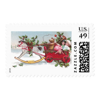 Rocking Horse, Teddy and Wagon Vintage Christmas Postage Stamps
