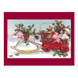 Rocking Horse, Teddy and Wagon Vintage Christmas Postcard