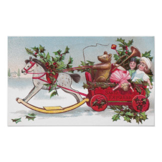 Rocking Horse, Teddy and Wagon Vintage Christmas Poster