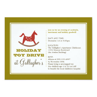 Rocking horse toy drive christmas holiday charity card