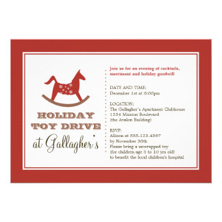 Rocking horse toy drive christmas holiday charity custom announcement