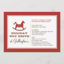 Rocking horse toy drive christmas holiday charity invitation