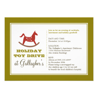 Rocking horse toy drive christmas holiday charity invitations