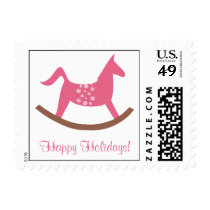 Rocking horse toy pink happy holidays personalize postage