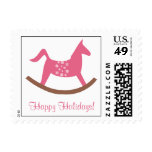 Rocking horse toy pink happy holidays personalize stamps