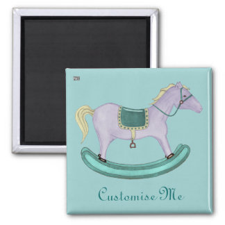 Rocking Horse - Traditional Toys (pastel) 2 Inch Square Magnet