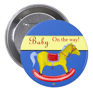 Rocking Horse - Traditional Toys (Primary Colours) 3 Inch Round Button