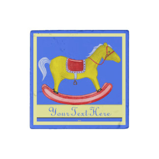 Rocking Horse - Traditional Toys (Primary Colours) Stone Magnet