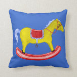 Rocking Horse - Traditional Toys (Primary Colours) Throw Pillow