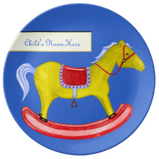 Rocking Horse - Traditional Toys (Primary Colours) Porcelain Plate