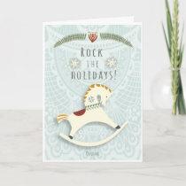 "Rocking horse v2 Christmas ""Rock the holidays"" Holiday Card"