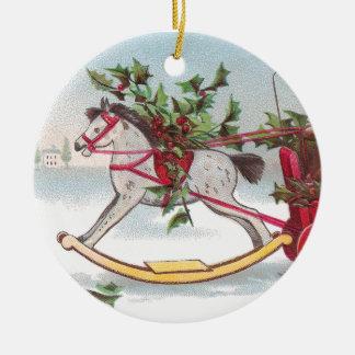 Rocking Horse Vintage Christmas Ceramic Ornament