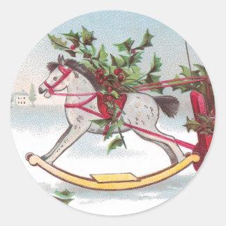 Rocking Horse Vintage Christmas Classic Round Sticker