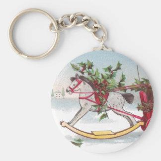 Rocking Horse Vintage Christmas Keychain