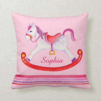 Rocking horse watercolor pink named kids pillow