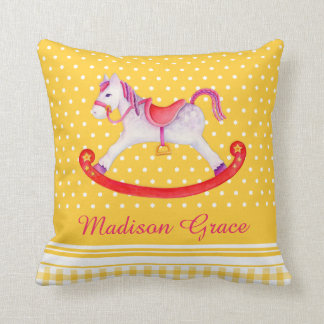 Rocking horse watercolor yellow named kids pillow
