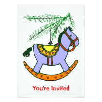 Rocking Horse Xmas Ornament Card