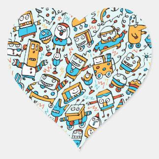 Rocking Little Robots Blue Stickers (Heart)