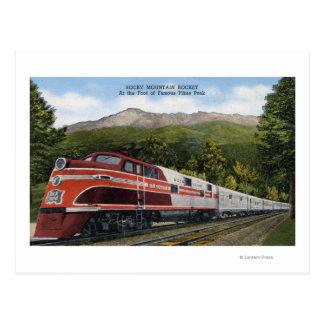 Rocking Mountain Rocket Train Postcard