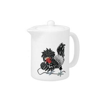 Rocking Polish Crested Chicken Teapot