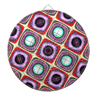 Rocking Retro Vibe Rings and Dots Purple Red Teal Dart Boards