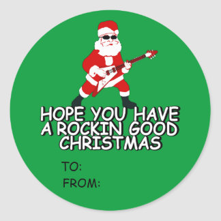 Rocking Santa gift Round Stickers