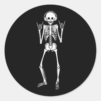 Rocking Skeleton Classic Round Sticker
