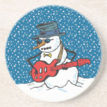 Rocking Snowman Playing A Guitar Beverage Coaster