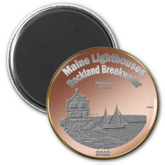 Rockland Breakwater Lighthouse 2 Inch Round Magnet