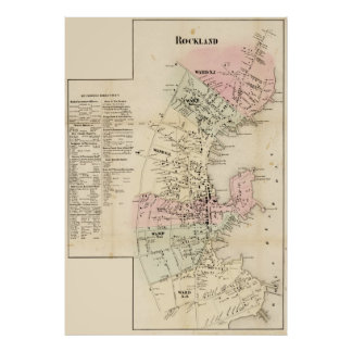 Rockland, Maine Map 1857 Poster
