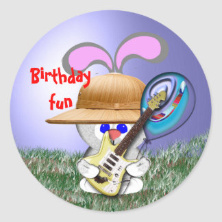 Rock'n Birthday Fun Classic Round Sticker