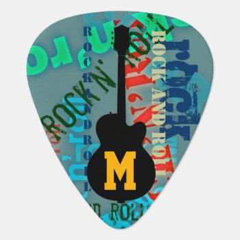 Rock'n' Roll Personalized Guitar-themed Guitar Pick by mixedworld at Zazzle