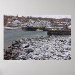 Rockport Harbor Snowy Rocks Print