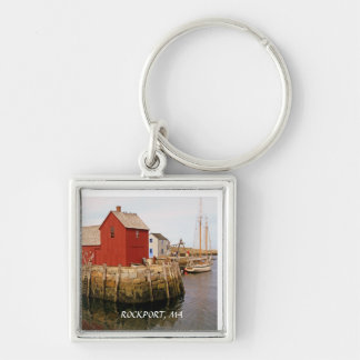 ROCKPORT, MA Silver-Colored SQUARE KEYCHAIN