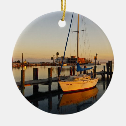 Rockport, Texas harbor at sunset Ceramic Ornament