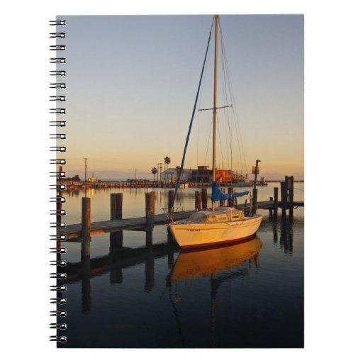 Rockport, Texas harbor at sunset Spiral Notebook