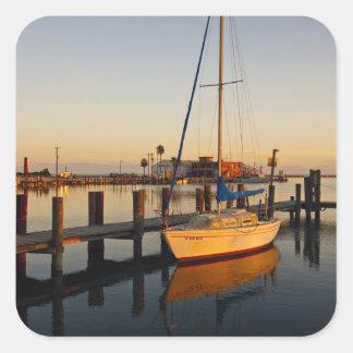 Rockport, Texas harbor at sunset Square Sticker