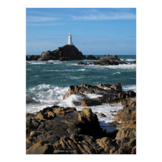 Rocks and Corbiere lighthouse, Jersey Poster