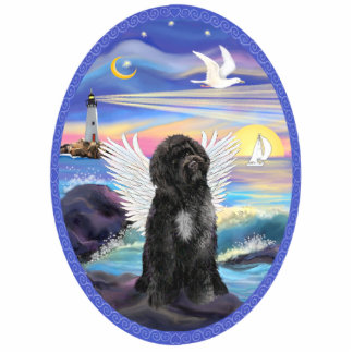 Rocks and Sea - Portuguese Water Dog Standing Photo Sculpture