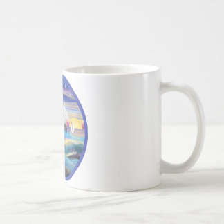 Rocks and Sea - White Arabian Horse 2 Coffee Mug