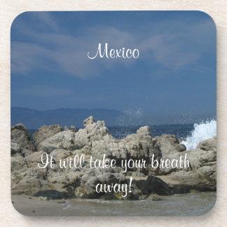 Rocks and Splashes; Mexico Souvenir Coaster
