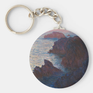 Rocks at Belle-lle, Port-Domois by Claude Monet Keychain